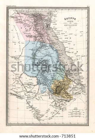 Antique Map of Egypt Nubia Abyssinia in Africa