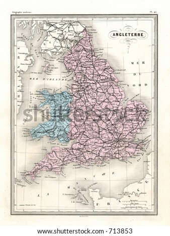 Antique Map of England and Wales in Britain