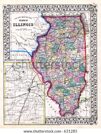 Antique Map of Illinois and Springfield in 1870 - stock photo