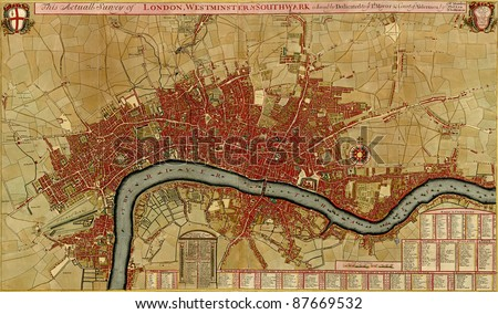 Antique map of London, Southwark asnd Westminster, Atlas of fortifications and battles, by Anna Beek and Gaspar Baillieu  Originally published in 17th century. - stock photo