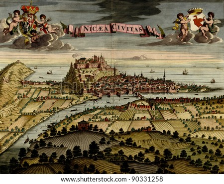 Antique map of Nicea from the Atlas of fortifications and battles, by Anna Beek and Gaspar Baillieu  Originally published in 17th century. - stock photo