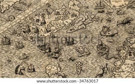 Antique map of Northen Sea (1572, fragment_4)