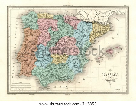 Antique Map of Spain and Portugal - stock photo