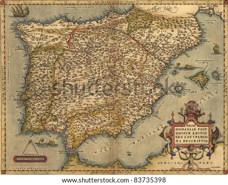 Antique Map of Spain,  by Abraham Ortelius, circa 1570 - stock photo