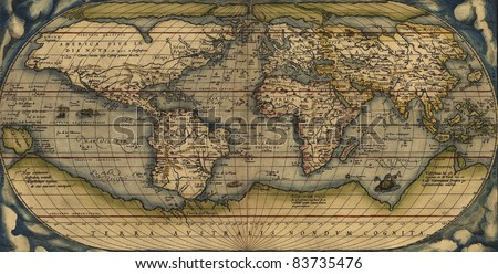 Antique Map of the World,  Antique map by Ortelius, circa 1570 - stock photo