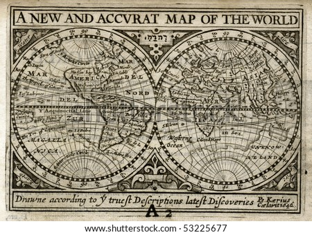 Antique Map of the World by John Speed as known in 1635 - stock photo