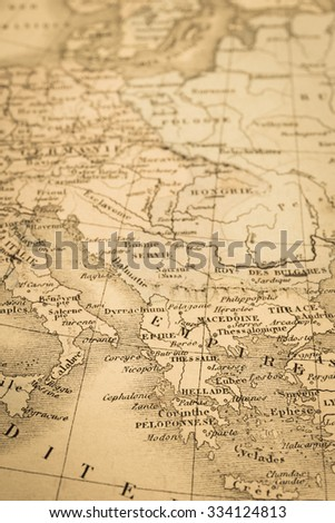 Antique map of the world, the Mediterranean coastal areas