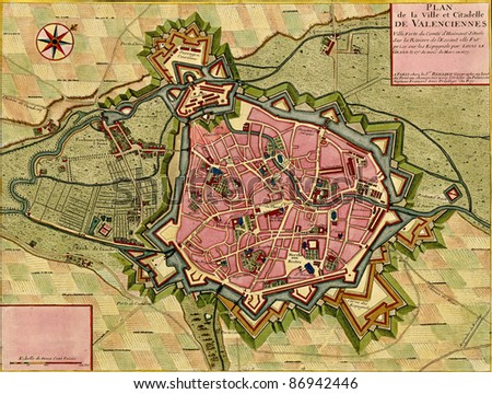 Antique map of town and citadel of ValenciennesAtlas of fortifications and battles, by Anna Beek and Gaspar Baillieu  Originally published in 17th century. - stock photo