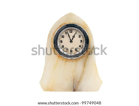 Antique marble clock, isolated on white background - stock photo