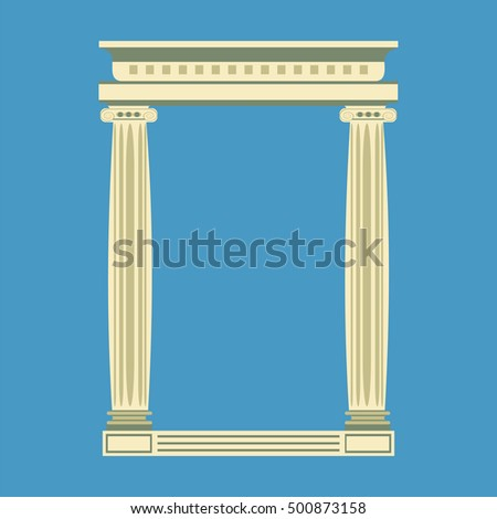 Antique marble temple front with ionic columns,  illustration