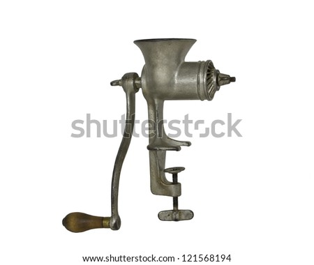 Antique Meat Grinder Isolated on White - stock photo