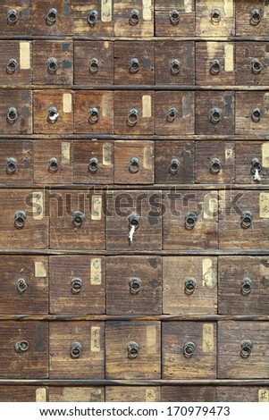 Antique medicine cupboard texture
