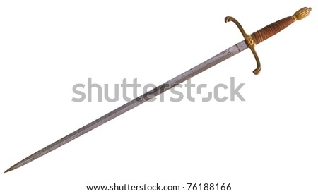Antique medieval longsword as used by knights, isolated on background - stock photo