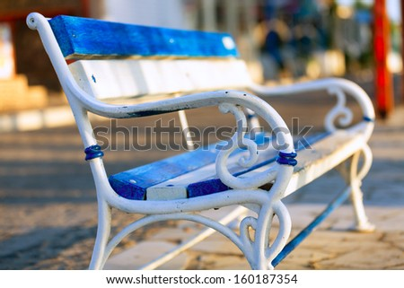 antique metal bench - stock photo