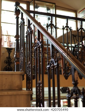 antique metal handrail - stock photo
