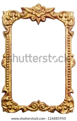 Antique metal picture frame isolated on white background - stock photo