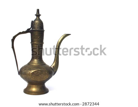 Antique Middle Eastern Oil Lamp Isolated on White Background