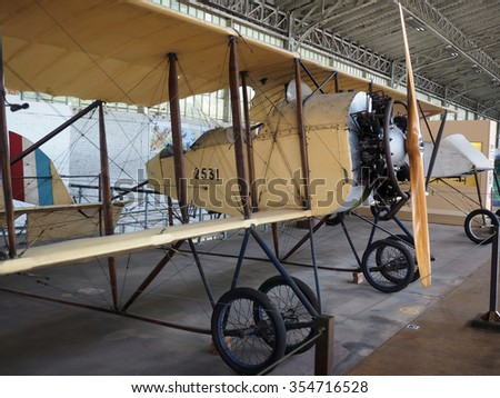 antique military airplane on display  Royal Museum of the Armed Forces and of Military History Cinquantenaire Park Brussels Belgium