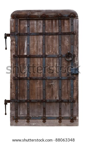 Antique oak doors reinforced with iron. Isolated on white background - stock photo