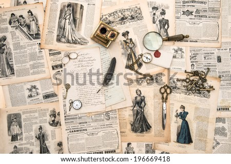 antique office accessories, writing tools, vintage fashion magazine for the woman from 1898. retro style toned picture - stock photo