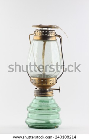 Antique oil lamp - stock photo