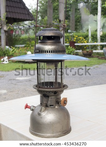 Antique oil lamps to light   at night - stock photo