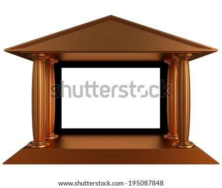 antique old cinema theater stage on the white - stock photo
