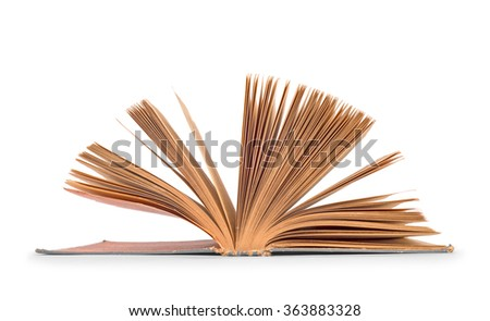antique old open book isolated on white background