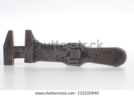 antique old rustic wrench - stock photo