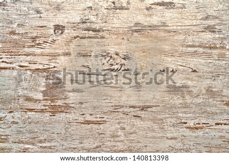Antique old white peeling and scratched aged paint on weathered wood boards distressed wall background - stock photo