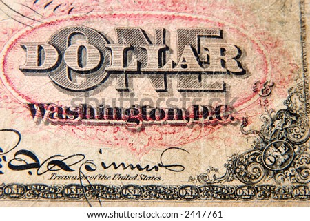 Antique One Dollar Note - stock photo