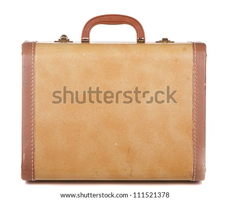 Antique or retro luggage or suitcase on a white background - stock photo