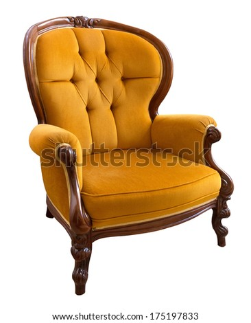 Antique orange armchair isolated on white background