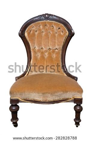 Antique orange armchair isolated on white background - stock photo