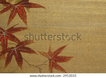 Antique Oriental Silk Painting Texture with Room for Text