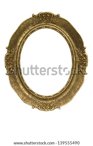 Antique oval picture frame-isolated on white - stock photo