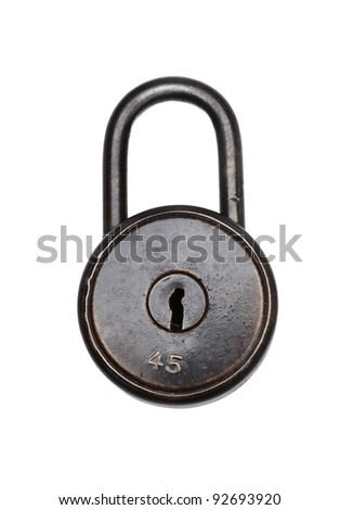 Antique Padlock  on white background. Clipping path included.