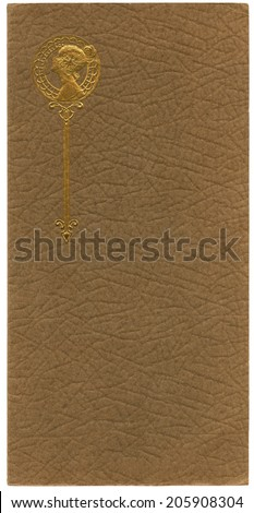 Antique paper photograph cover background with embossed woman in gold - stock photo