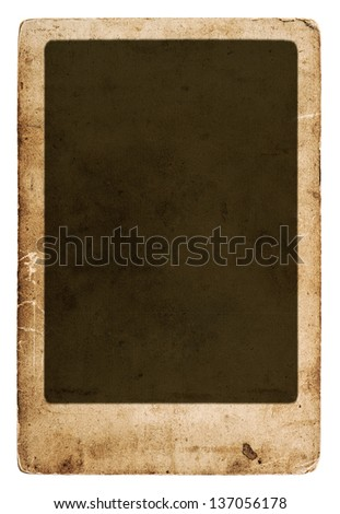 antique paper sheet with frame isolated on white background. old vintage grunge card board - stock photo