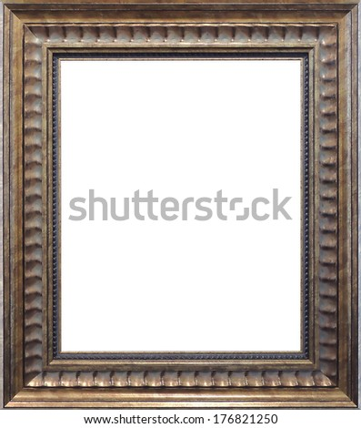 antique picture frame isolated on white background - stock photo