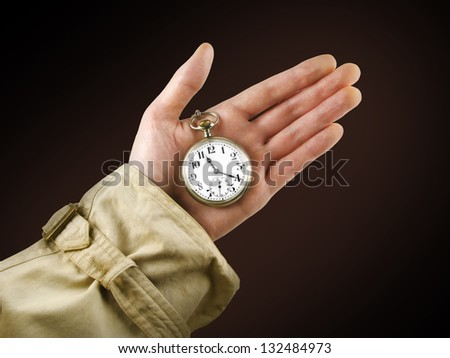 Antique pocket watch in hand
