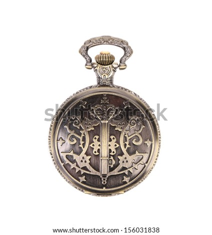 Antique pocket watch. Isolated on a white background.