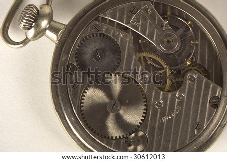 Antique pocket watch opened back