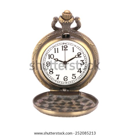 antique pocket watches of genuine gold isolated on white background. This has clipping path.