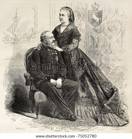 Antique portrait of Royal couple of Hanover: King George V and Queen consort Marie. Created by Pauquet, published on L'Illustration, Journal Universel, Paris, 1868 - stock photo