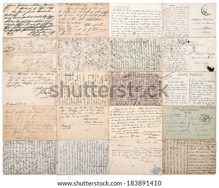 antique postcards. old handwritten undefined texts from ca. 1900. grunge vintage papers background  - stock photo