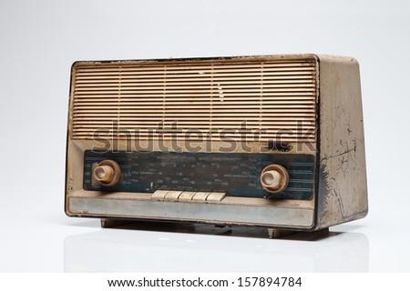 Antique radio. - stock photo