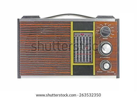 Antique radio on a white background. - stock photo