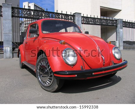 antique red car - stock photo