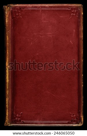 Antique red leather book cover; textured with age, stains and scratches. Tooled gilded frame and floral edge emblems. Use as background.  - stock photo